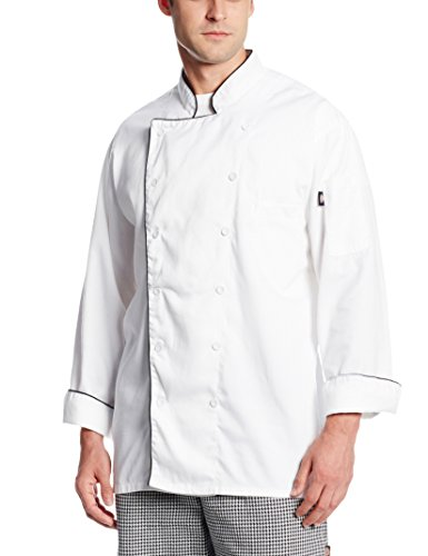 Chef Spun Coat Polyester - Dickies Occupational Workwear DCP103WHT S Spun Polyester Executive Chef Coat with Piping, Small, White