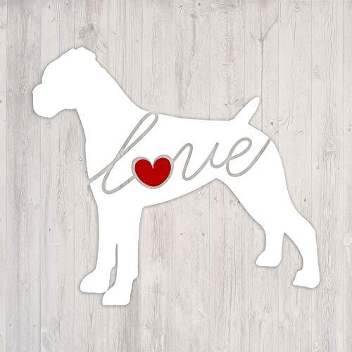 Boxer (Uncropped Ears) Love - Car Window Vinyl Decal Sticker (Script Font)