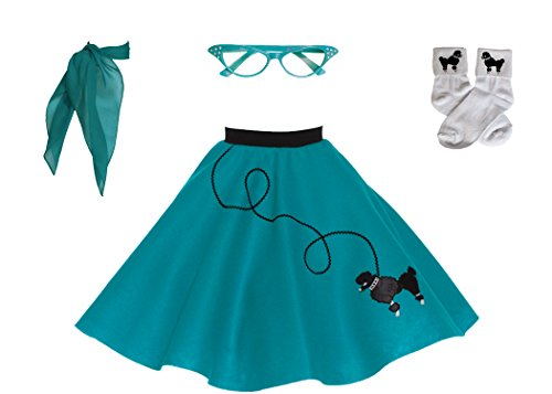 Hip Hop 50s Shop 4 Piece Child Poodle Skirt Costume Set, Size Large Teal