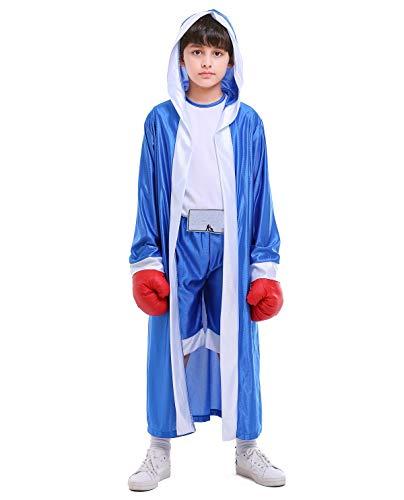 Boleyn Kid's Boy Halloween Carnival Boxing Costume Boxer Cosplay (Blue, Medium) -