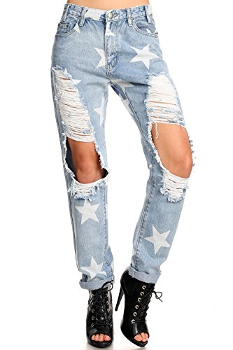 Womens Mackenzie - Rustic Star Destroyed Tattered Torn Ripped Boyfriend Denim Jeans High Rise Pocket Pants Sporty Boho Chic Bohemian Style Halloween Costume Baggy Knee Hole Rock N Roll Music (Pop Art Inspired Halloween Costume)