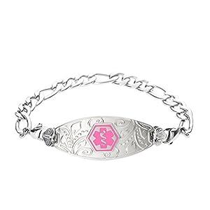 Divoti Deep Custom Laser Engraved Lovely Filigree Medical Alert Bracelet -Stainless Figaro-Pink
