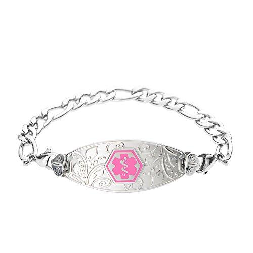 - Divoti Deep Custom Laser Engraved Lovely Filigree Medical Alert Bracelet -Stainless Figaro-Pink-6.5