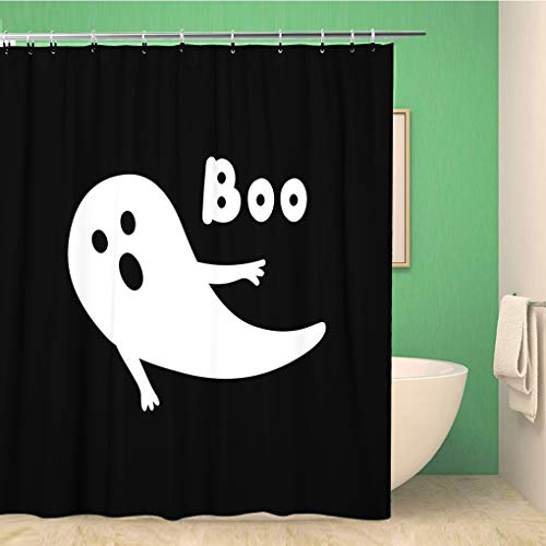 Awowee Bathroom Shower Curtain Apparition Halloween Ghost Open