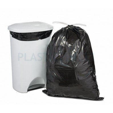 Plasticplace Extra-Tall Drawstring Bags - 13 gallon - Black - 50/Case