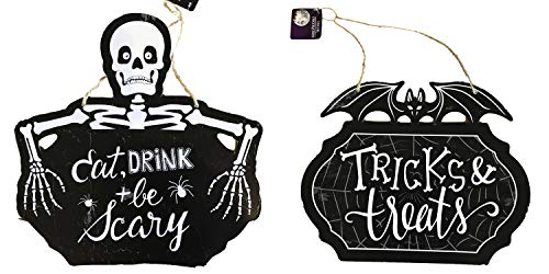 Halloween Wall Signs, Set of 2, Tricks & Treats and Eat Drink + be Scary
