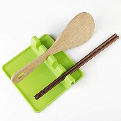 SPHTOEO Kitchen Utensil Silicone Rest Holder Green-BA