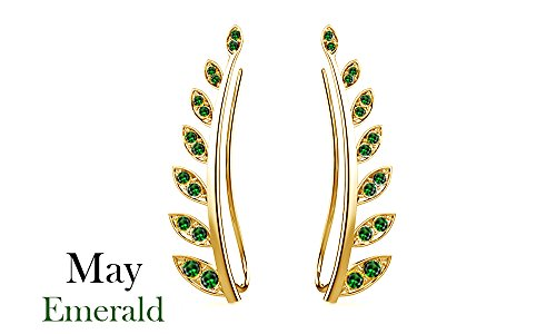 Simulated Green Emerald Ear Crawler Cuff Earrings 14k Yellow Gold Over Sterling Silver Climber Studs Olive Leaf ()