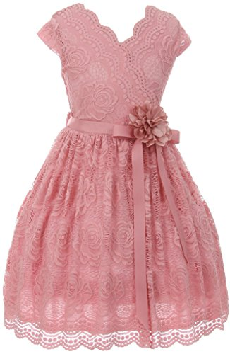 Flower Girl Dress Curly V-Neck Rose Embroidery AllOver for Big Girl Rose 12 JKS.2066