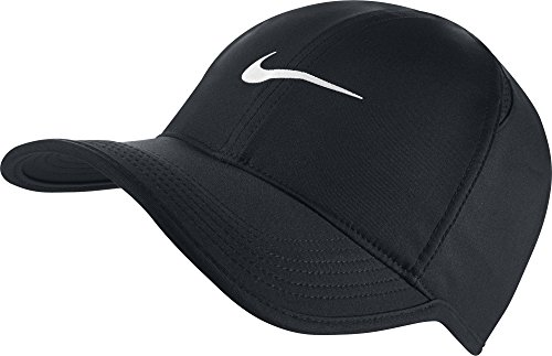 NIKE Unisex AeroBill Featherlight Cap, Black/Black/White, One - Dri Tennis Fit Nike Hat