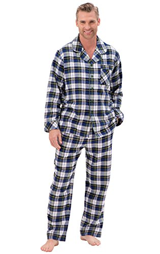 PajamaGram Men's Button Top Tartan Plaid Classic Flannel Pajamas, Green, XXL by PajamaGram
