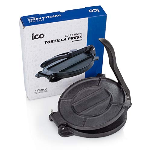 Cast Iron Tortilla Press, Tortilla, Roti, and Flatbread Maker (Pre-Seasoned) - makes fresh Corn or Flour Tortillas for grilling by Impeccable Culinary Objects (ICO) (Image #9)