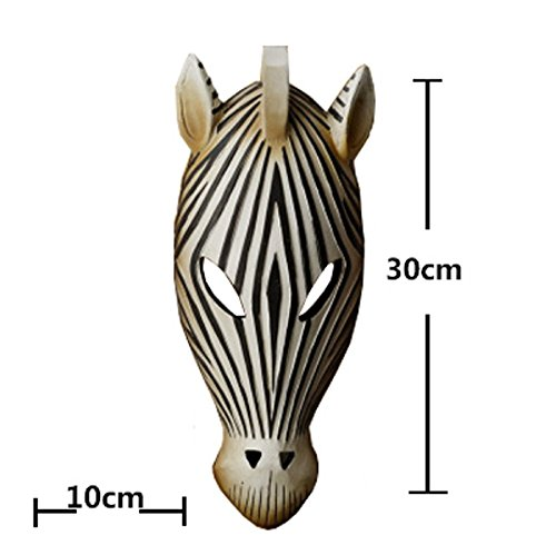 Sulin Carved Resin African Tribal Animal Zebra Mask Wall Plaque Decor,C