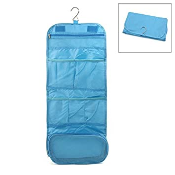 eDealMax baño Colgar Organizador 7 bolsillos Cosmética Wash Neceser de almacenamiento Bolsa de Mano Azul Viajes