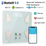 Bluetooth Body Fat Scale, Bluetooth Smart BMI Scale Wireless Digital Weight Scale, Body