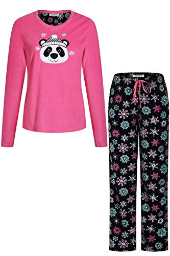 oidery Fleece Pajama Sleepwear Set with Printed Long Pants Hot Pink Black L ()