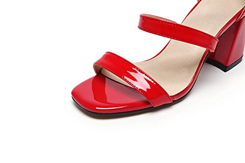 Solid Red High Buckle Toe Heels Pu WeenFashion Sandals Women's Open BHw01