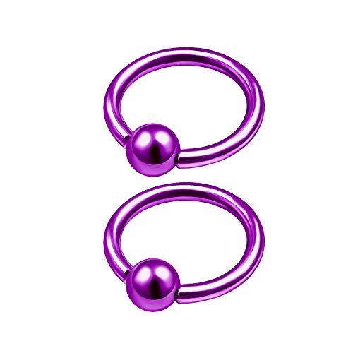 2Pcs Purple Titanium 16 Gauge 1/4 6mm Captive Hoops Piercing Jewelry Tragus Nose Septum Eyebrow Cartilage 3mm Ball M5345