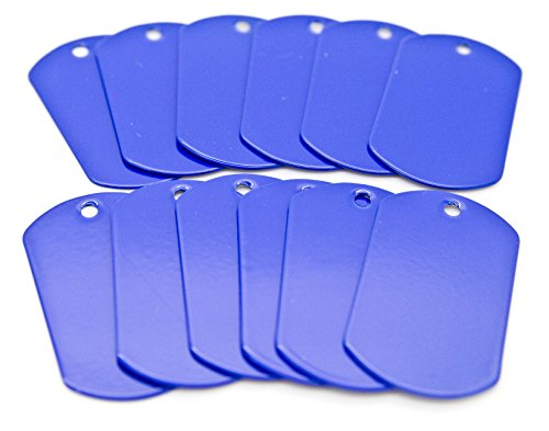 Blue Dog Tag - 100 pcs Blue Color Stainless Steel Military Spec Dog Tags