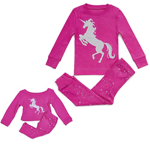 Bluenido Kids & Toddler Pahamas Matching Doll & Girls Pajamas 100% Cotton Unicorn Pjs Set Fits American Girl 4Y