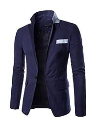 Janyet Mens Casual Slim Fit Stylish One Button Suit Coat Business Blazer Jacket