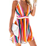 Women Beach Dress Sexy V-Neck Backless Colorful Sleeveless Summer Mini Dresses (Medium)