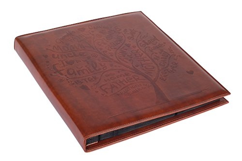 Brown Faux Leather Family Photo Album with Embossed Tree – Holds 500 4x6 Photographs