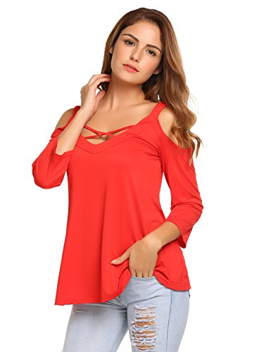 408ab9cf2927d9 UNibelle Women s Sexy Crisscross V Neck Cold Shoulder Tops Lace Up Tunic  3 4 Sleeve