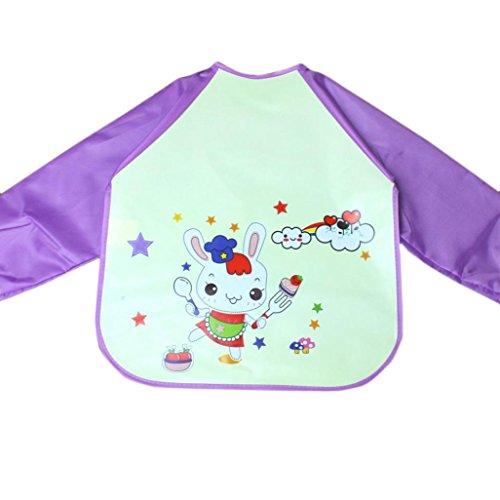 Baby Long Sleeve Art Smock Bib Waterproof Apron (Elephant) (Pink) - 7