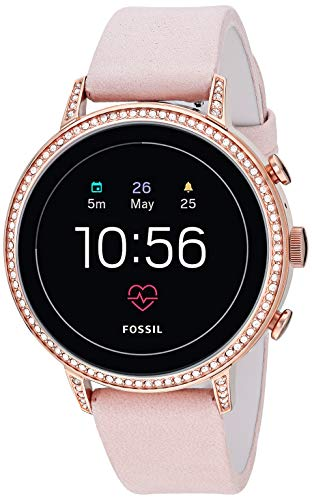 Fossil Women's Gen 4 Venture HR Heart Rate Stainless Steel and Leather Touchscreen Smartwatch, Color: Rose Gold, Pink (Model: FTW6015) (Best Android Phone Accessories)
