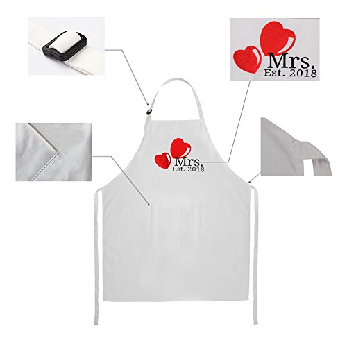Mr. and Mrs. 2018 Wedding Aprons for Couples Embroidered Cooking Aprons Engagement Wedding Gifts for Newlywed Couples - 29.5 inch by 24 inch