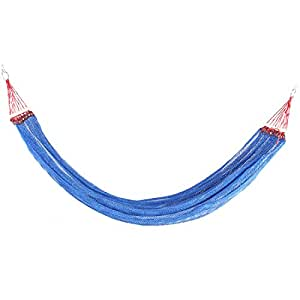 uxcell Nylon Mesh Expedition Travel Hiking Spreader Swing Hanging Bed Suspended Hammock Blue