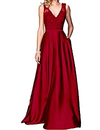 YSMei Women's Long Lace Prom Dress with Pocket V-neck Party Formal Gowns YPM276