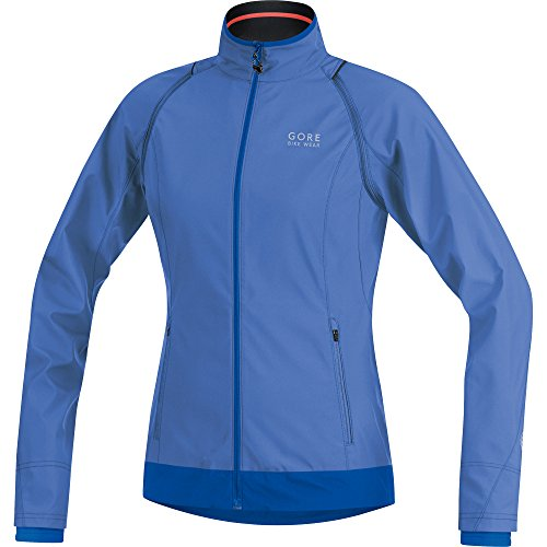 Windstopper Active Jacket - Gore Bike Wear 2 in 1 Women's Cycling Jacket, Super-Light, Compact, GORE WINDSTOPPER, ELEMENT LADY WS AS Zip-Off Jacket, Size 44, Blizzard Blue/Brilliant Blue, JWZLEL