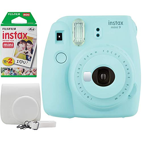 Fujifilm Instax Mini 9 Instant Camera Bundle w/Case and Film (Ice Blue)