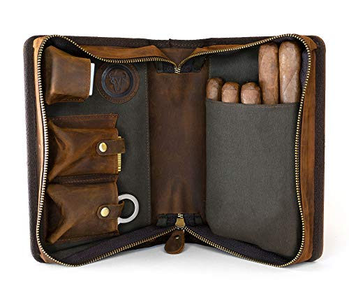 Wall St Smoker Genuine Leather Cigar Case The Grand ()