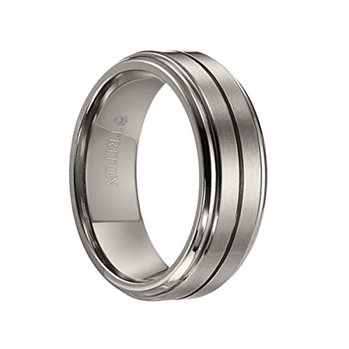 Triton Ring Titanium Bevel Step Edge Comfort Fit Band with Horizontal Center Cut Line ()