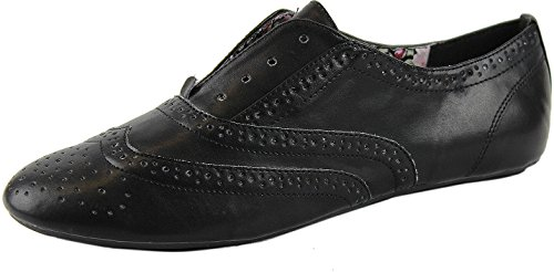 Donna Natura Brezza Cambridge-02 Faux Oxford Flats Nero Pu