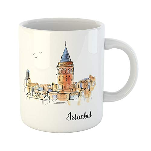 - Semtomn Funny Coffee Mug Sketchy Silhouette of the Galata Tower in Istanbul Famous 11 Oz Ceramic Coffee Mugs Tea Cup Best Gift Or Souvenir