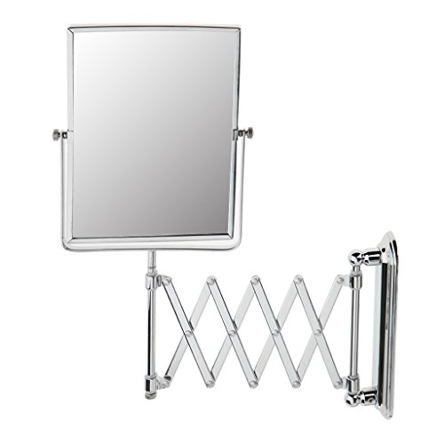 Wall Mount Shaving Mirror - MonkeyJack Large Elegant Stainless Steel Wall Mount Double Sided Extendable Bathroom Hotel Stores Shaving Makeup Mirror 1x/3x Magnifying 17'' Expandable Bracket - #02
