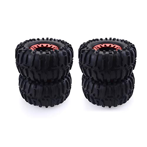 RC Tires 4PCS 1/10 RC Rubber Tyres Plastic Wheels for HPI Savage ZD Racing XS HSP LRP Redcat TRAXXAS 1/10 Monster Truck Crawler Car ()