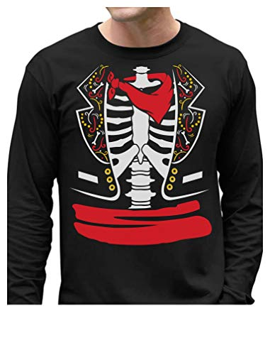 Day of The Dead Halloween Mexican Skeleton Rib Cage Costume Long Sleeve T-Shirt XX-Large Black