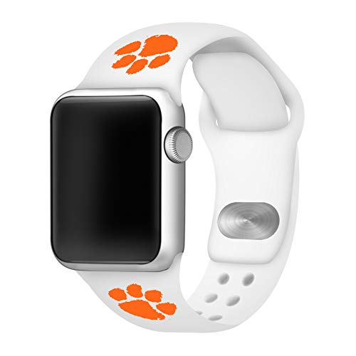 (AFFINITY BANDS Clemson Tigers Silicone Sport Band Compatible with Apple Watch - (42mm/44mm White))