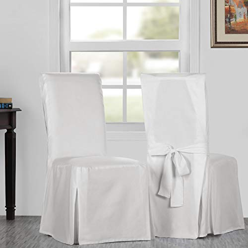 HPD Half Price Drapes PRCT-LS11-CC-L-PR Solid Cotton Twill Chair Covers (Sold As Pair) Whisper White (Dining Chair Covers White)