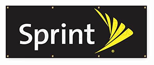 Sprint Black Cell (4 ft x 10 ft Vinyl Banner Sign New - Black Background SPRINT cell phone)