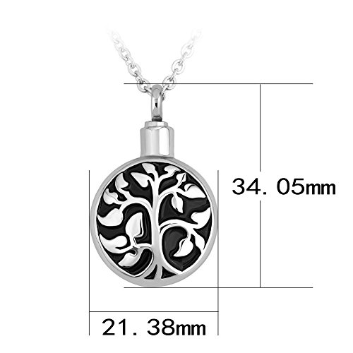 SexyMandala Tree of Life Round Urn Necklace for Ashes Stainless Steel Urn Pendant Memorial Ashes Keepsake 18'' (18' Stainless Chain)