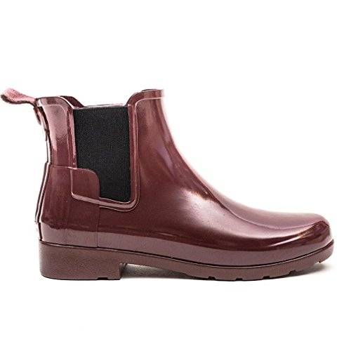 Womens Hunter Original Refined Chelsea Gloss Waterproof Wellie Ankle Boot Dulse