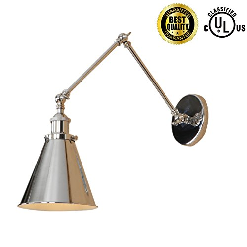 Arm Vintage Swing (Industrial Wall Sconces Wall Lamp Chrome 2 Swing Arm Sconces wall Lighting E26 Base Vintage Edison Retro Wall Mount Light (Chrome))