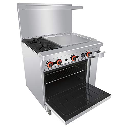 Commercial 36'' Gas 2 Burner Range With Griddle and Standard Oven - Kitma Heavy Duty Natural Gas Cooking Performance Group for Kitchen Restaurant, 125,000 BTU