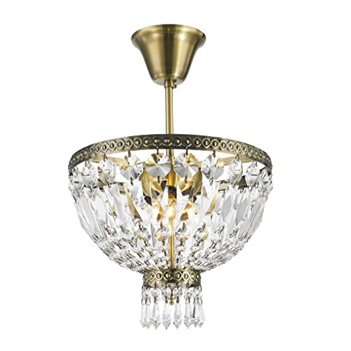 Worldwide Lighting W33087B12 Metropolitan 3 Light Flush Mount Ceiling Light, Antique Bronze Finish Crystal, Round Small Fixture, 12